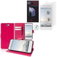 HTC One A9: Etui Coque Housse Pochette Accessoires portefeuille support video cuir PU - ROSE + 2 Films de protection d'écran Verre Trempé