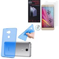 Huawei Honor 5X/ Honor X5/ Huawei GR5: Etui Housse Pochette Accessoires Coque gel UltraSlim - BLEU + 2 Films de protection d'écran Verre Trempé
