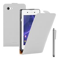Sony Xperia E3/ E3 Dual D2212 D2203 D2243 D2206 D2202: Accessoire Housse coque etui cuir fine slim + Stylet - BLANC