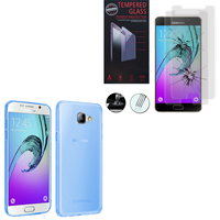 Samsung Galaxy A5 (2016) SM-A510F A510M A510FD A5100 A510Y (non compatible Galaxy A5 (2015)): Etui Housse Pochette Accessoires Coque gel UltraSlim - BLEU + 2 Films de protection d'écran Verre Trempé