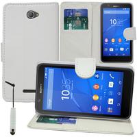 Sony Xperia E4 E2104 E2105/ E4 Dual E2114 E2115 E2124: Accessoire Etui portefeuille Livre Housse Coque Pochette support vidéo cuir PU + mini Stylet - BLANC