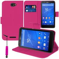 Sony Xperia E4 E2104 E2105/ E4 Dual E2114 E2115 E2124: Accessoire Etui portefeuille Livre Housse Coque Pochette support vidéo cuir PU + mini Stylet - ROSE