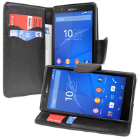 Sony Xperia E4 E2104 E2105/ E4 Dual E2114 E2115 E2124: Accessoire Etui portefeuille Livre Housse Coque Pochette support vidéo cuir PU effet tissu - NOIR