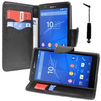 Sony Xperia E4 E2104 E2105/ E4 Dual E2114 E2115 E2124: Accessoire Etui portefeuille Livre Housse Coque Pochette support vidéo cuir PU effet tissu + mini Stylet - NOIR