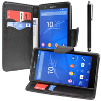 Sony Xperia E4 E2104 E2105/ E4 Dual E2114 E2115 E2124: Accessoire Etui portefeuille Livre Housse Coque Pochette support vidéo cuir PU effet tissu + Stylet - NOIR