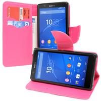 Sony Xperia E4 E2104 E2105/ E4 Dual E2114 E2115 E2124: Accessoire Etui portefeuille Livre Housse Coque Pochette support vidéo cuir PU effet tissu - ROSE