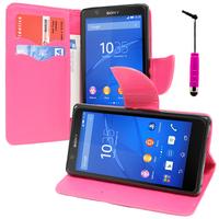 Sony Xperia E4 E2104 E2105/ E4 Dual E2114 E2115 E2124: Accessoire Etui portefeuille Livre Housse Coque Pochette support vidéo cuir PU effet tissu + mini Stylet - ROSE