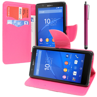Sony Xperia E4 E2104 E2105/ E4 Dual E2114 E2115 E2124: Accessoire Etui portefeuille Livre Housse Coque Pochette support vidéo cuir PU effet tissu + Stylet - ROSE