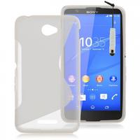 Sony Xperia E4 E2104 E2105/ E4 Dual E2114 E2115 E2124: Accessoire Housse Etui Pochette Coque S silicone gel + mini Stylet - TRANSPARENT