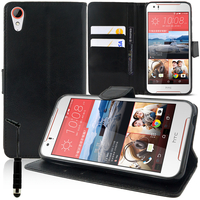 HTC Desire 830/ 830 dual sim: Accessoire Etui portefeuille Livre Housse Coque Pochette support vidéo cuir PU + mini Stylet - NOIR