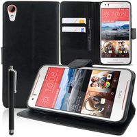 HTC Desire 830/ 830 dual sim: Accessoire Etui portefeuille Livre Housse Coque Pochette support vidéo cuir PU + Stylet - NOIR