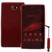 Sony Xperia M2/ M2 Dual D2303 D2305 D2306: Accessoire Coque Etui Housse Pochette silicone gel Portefeuille Livre rabat + mini Stylet - ROUGE
