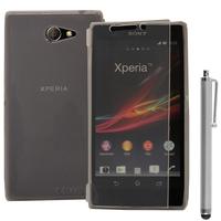Sony Xperia M2/ M2 Dual D2303 D2305 D2306: Accessoire Coque Etui Housse Pochette silicone gel Portefeuille Livre rabat + Stylet - TRANSPARENT