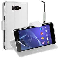 Sony Xperia M2/ M2 Dual D2303 D2305 D2306: Accessoire Etui portefeuille Livre Housse Coque Pochette support vidéo cuir PU + mini Stylet - BLANC