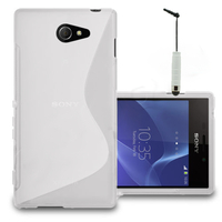 Sony Xperia M2/ M2 Dual D2303 D2305 D2306: Accessoire Housse Etui Pochette Coque S silicone gel + mini Stylet - BLANC