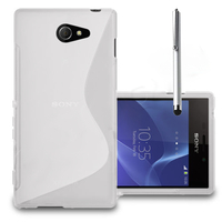 Sony Xperia M2/ M2 Dual D2303 D2305 D2306: Accessoire Housse Etui Pochette Coque S silicone gel + Stylet - BLANC