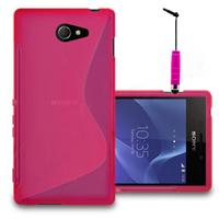 Sony Xperia M2/ M2 Dual D2303 D2305 D2306: Accessoire Housse Etui Pochette Coque S silicone gel + mini Stylet - ROSE