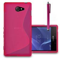 Sony Xperia M2/ M2 Dual D2303 D2305 D2306: Accessoire Housse Etui Pochette Coque S silicone gel + Stylet - ROSE
