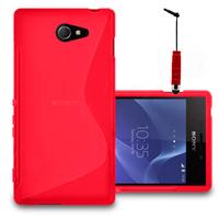 Sony Xperia M2/ M2 Dual D2303 D2305 D2306: Accessoire Housse Etui Pochette Coque S silicone gel + mini Stylet - ROUGE