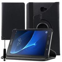 Samsung Galaxy Tab A 10.1 (2016) T580 T585: Accessoire Etui Housse Coque avec support Et Rotative Rotation 360° en cuir PU + mini Stylet - NOIR