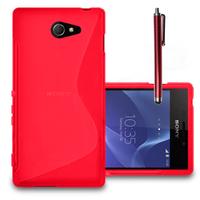 Sony Xperia M2/ M2 Dual D2303 D2305 D2306: Accessoire Housse Etui Pochette Coque S silicone gel + Stylet - ROUGE