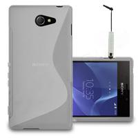 Sony Xperia M2/ M2 Dual D2303 D2305 D2306: Accessoire Housse Etui Pochette Coque S silicone gel + mini Stylet - TRANSPARENT