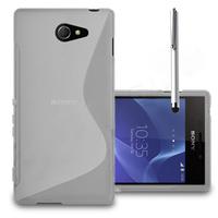 Sony Xperia M2/ M2 Dual D2303 D2305 D2306: Accessoire Housse Etui Pochette Coque S silicone gel + Stylet - TRANSPARENT