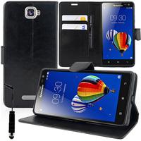 Lenovo S856: Accessoire Etui portefeuille Livre Housse Coque Pochette support vidéo cuir PU + mini Stylet - NOIR