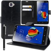Lenovo S856: Accessoire Etui portefeuille Livre Housse Coque Pochette support vidéo cuir PU + Stylet - NOIR