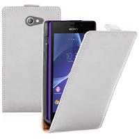 Sony Xperia M2/ M2 Dual D2303 D2305 D2306: Accessoire Housse coque etui cuir fine slim - BLANC