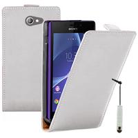 Sony Xperia M2/ M2 Dual D2303 D2305 D2306: Accessoire Housse coque etui cuir fine slim + mini Stylet - BLANC