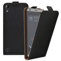 HTC Desire 530/ Desire 630: Accessoire Housse Coque Pochette Etui protection vrai cuir à rabat vertical - NOIR