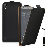 HTC Desire 530/ Desire 630: Accessoire Housse Coque Pochette Etui protection vrai cuir à rabat vertical + mini Stylet - NOIR