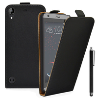 HTC Desire 530/ Desire 630: Accessoire Housse Coque Pochette Etui protection vrai cuir à rabat vertical + Stylet - NOIR