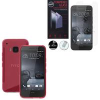 HTC One S9: Coque Etui Housse Pochette Accessoires Silicone Gel motif S-Line - ROSE + 1 Film de protection d'écran Verre Trempé