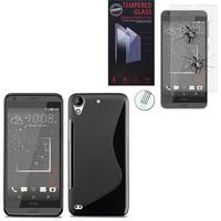 HTC Desire 530/ Desire 630: Coque Etui Housse Pochette Accessoires Silicone Gel motif S-Line - NOIR + 1 Film de protection d'écran Verre Trempé