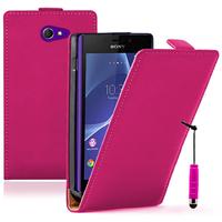 Sony Xperia M2/ M2 Dual D2303 D2305 D2306: Accessoire Housse coque etui cuir fine slim + mini Stylet - ROSE