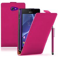 Sony Xperia M2/ M2 Dual D2303 D2305 D2306: Accessoire Housse coque etui cuir fine slim + Stylet - ROSE