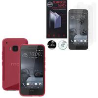 HTC One S9: Coque Etui Housse Pochette Accessoires Silicone Gel motif S-Line - ROSE + 2 Films de protection d'écran Verre Trempé