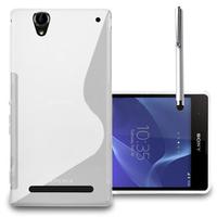 Sony Xperia T2 Ultra/ T2 Ultra Dual D5303 D5306 LTE D5322 XM50h: Accessoire Housse Etui Pochette Coque S silicone gel + Stylet - BLANC