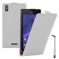 Sony Xperia T3 D5103 D5102 D5106: Accessoire Housse coque etui cuir fine slim + mini Stylet - BLANC