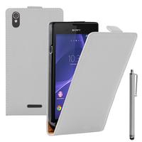 Sony Xperia T3 D5103 D5102 D5106: Accessoire Housse coque etui cuir fine slim + Stylet - BLANC