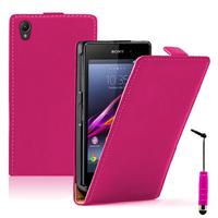 Sony Xperia Z1 L39H/ Z1 Honami/ C6902 C6903 C6906 C6943: Accessoire Housse coque etui cuir fine slim + mini Stylet - ROSE