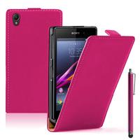 Sony Xperia Z1 L39H/ Z1 Honami/ C6902 C6903 C6906 C6943: Accessoire Housse coque etui cuir fine slim + Stylet - ROSE