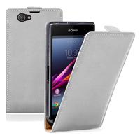 Sony Xperia Z1 Compact D5503: Accessoire Housse coque etui cuir fine slim - BLANC