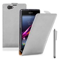 Sony Xperia Z1 Compact D5503: Accessoire Housse coque etui cuir fine slim + Stylet - BLANC