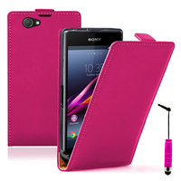 Sony Xperia Z1 Compact D5503: Accessoire Housse coque etui cuir fine slim + mini Stylet - ROSE
