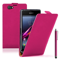 Sony Xperia Z1 Compact D5503: Accessoire Housse coque etui cuir fine slim + Stylet - ROSE