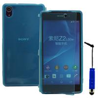 Sony Xperia Z2 D6502 D6503 D6543: Accessoire Coque Etui Housse Pochette silicone gel Portefeuille Livre rabat + mini Stylet - BLEU
