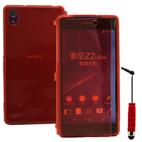 Sony Xperia Z2 D6502 D6503 D6543: Accessoire Coque Etui Housse Pochette silicone gel Portefeuille Livre rabat + mini Stylet - ROUGE